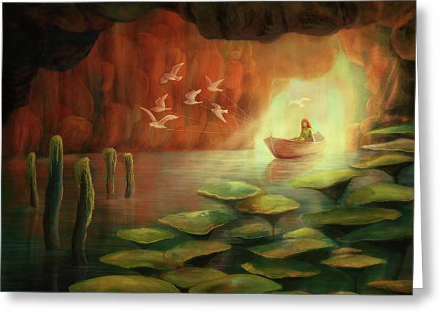 Into The Cave Greeting Card by Catherine Swenson