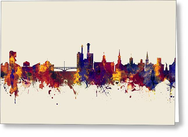 Greeting Card featuring the digital art Iowa City Iowa Skyline by Michael Tompsett