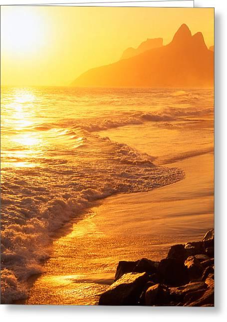 Ipanema Beach Rio De Janeiro Brazil Greeting Card by Utah Images