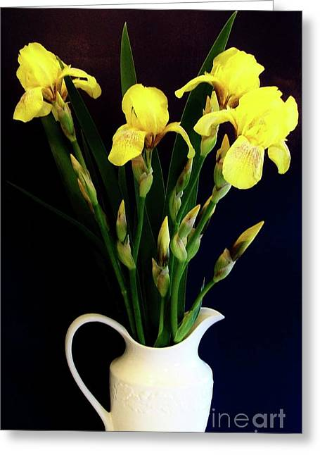 Iris Bouquet Greeting Card by Marsha Heiken