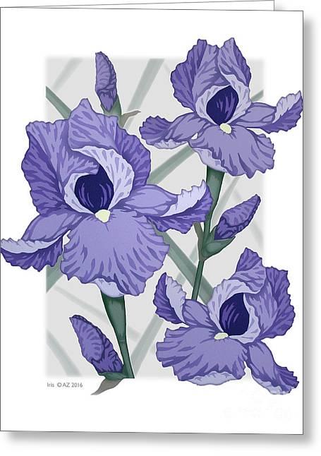 Iris Greeting Card by David Azzarello