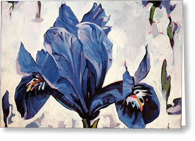 Greeting Card featuring the painting Iris Snow by Tim  Heimdal