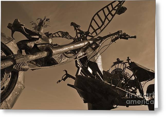Iron Motorcycle Sculpture In Faro Greeting Card