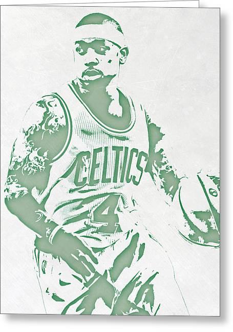 Isaiah Thomas Boston Celtics Pixel Art Greeting Card by Joe Hamilton