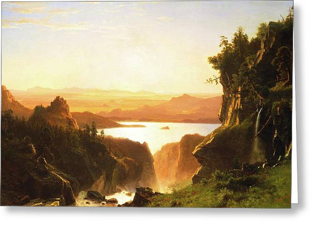 Island Lake, Wind River Range, Wyoming Greeting Card by Albert Bierstadt