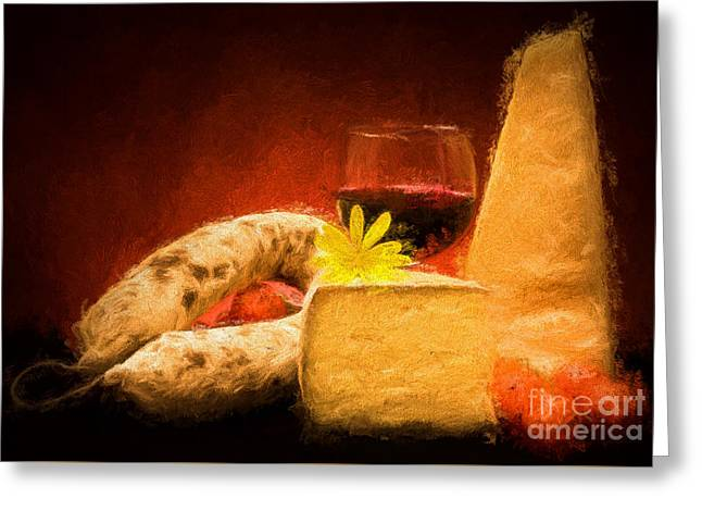 Still Life With Cheese And Salami Greeting Card by Ezeepics