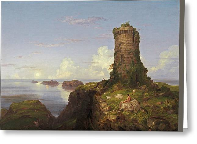 Italian Coast Scene With Ruined Tower Greeting Card by Thomas Cole