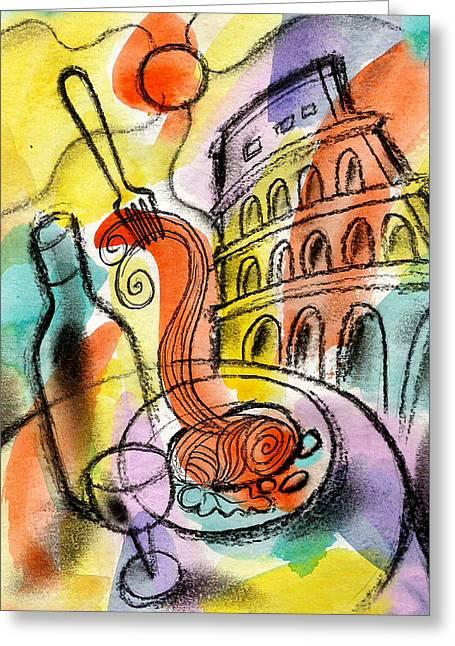 Italian Food Greeting Card by Leon Zernitsky