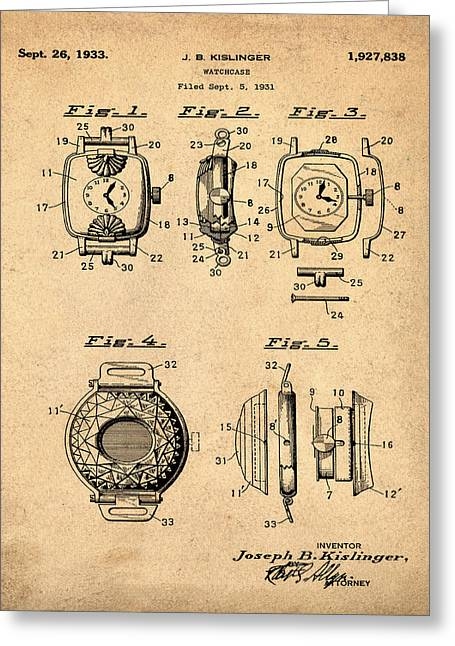 J B Kislinger Watch Patent 1933 Red Greeting Card by Bill Cannon