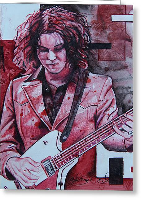 Greeting Card featuring the drawing Jack White by Joshua Morton