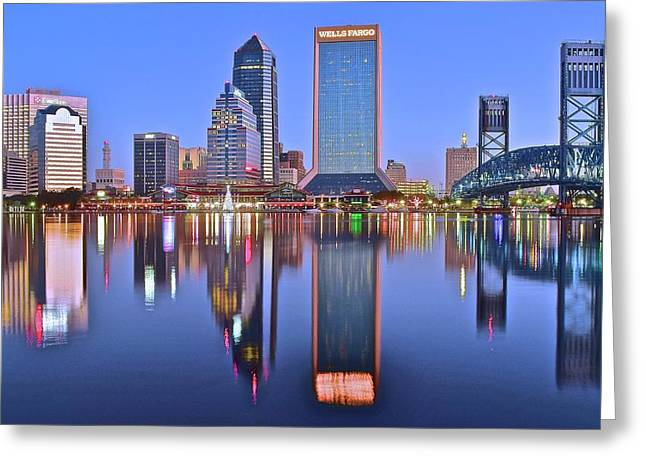 Jacksonville At Dawn Greeting Card by Frozen in Time Fine Art Photography