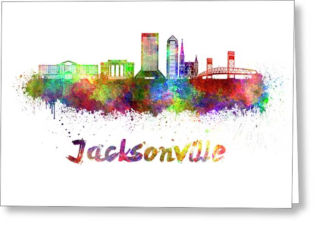 Jacksonville Skyline In Watercolor Greeting Card by Pablo Romero