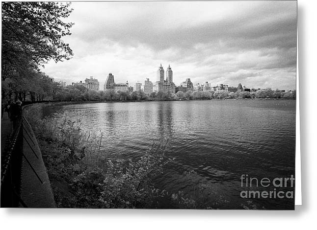 Jacqueline Kennedy Onassis Reservoir Central Park With Views Of Upper West Side Apartment Buildings  Greeting Card