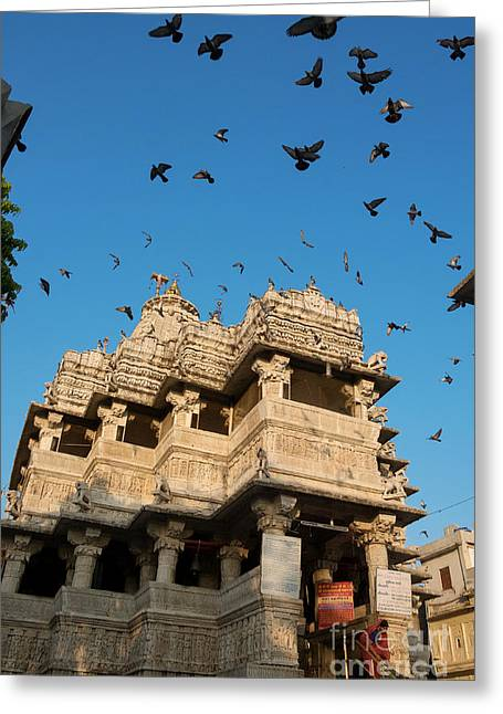 Greeting Card featuring the photograph Jagdish Temple by Yew Kwang