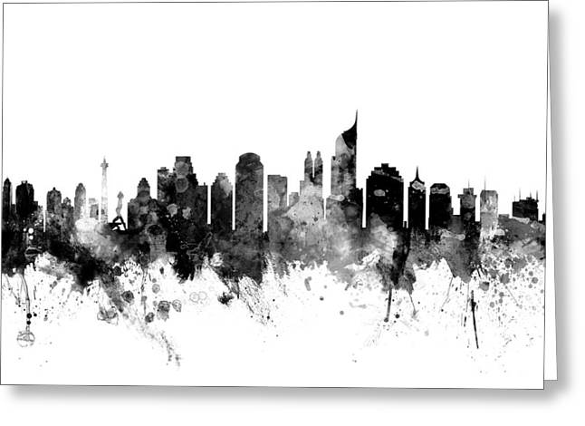 Jakarta Skyline Indonesia Greeting Card by Michael Tompsett