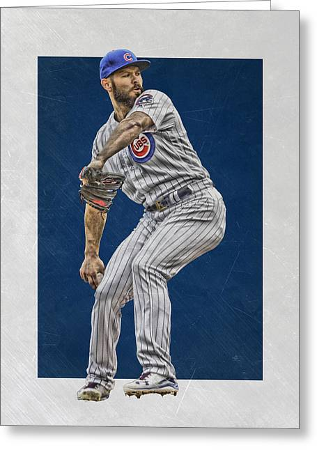 Jake Arrieta Chicago Cubs Art Greeting Card