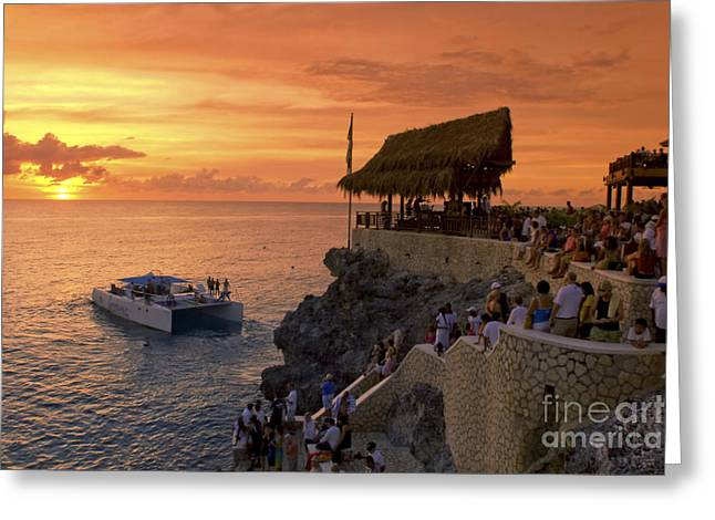 Greeting Card featuring the photograph Jamaica Negril Ricks Cafe by Juergen Held