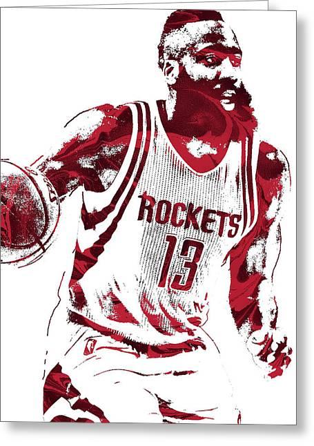 James Harden Houston Rockets Pixel Art 2 Greeting Card by Joe Hamilton