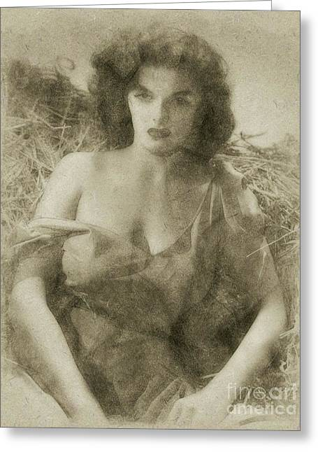 Jane Russell Hollywood Actress Greeting Card by Frank Falcon