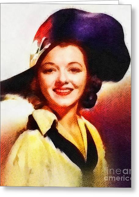 Janet Gaynor, Vintage Hollywood Actress Greeting Card by John Springfield