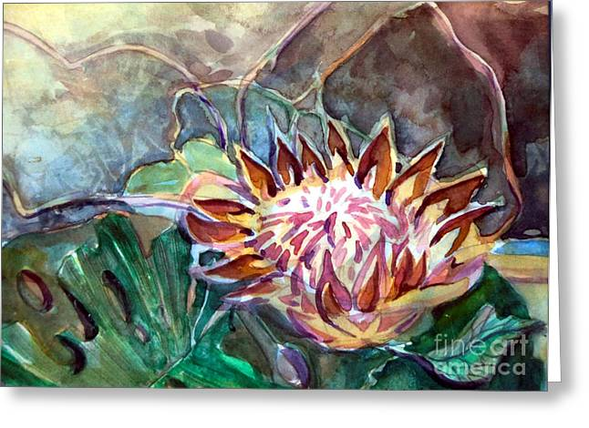 Florida Flowers Mixed Media Greeting Cards - Japanese Flower Arrangement Greeting Card by Mindy Newman
