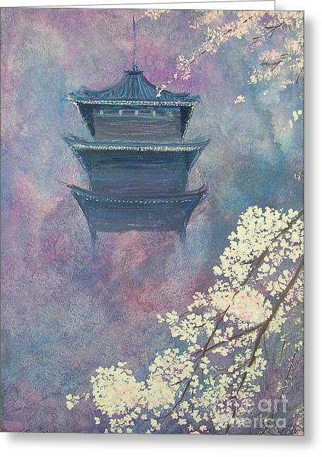 Japanese Spring Scene Greeting Card by Lizzy Forrester