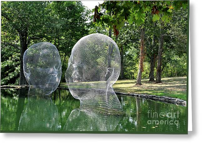 Jaume Plensa - Awilda And Irma Greeting Card by Wanda-Lynn Searles