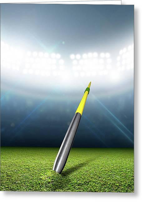 Javelin In Generic Floodlit Stadium Greeting Card by Allan Swart