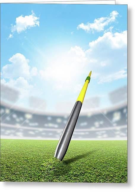 Javelin In Stadium And Green Turf Greeting Card by Allan Swart