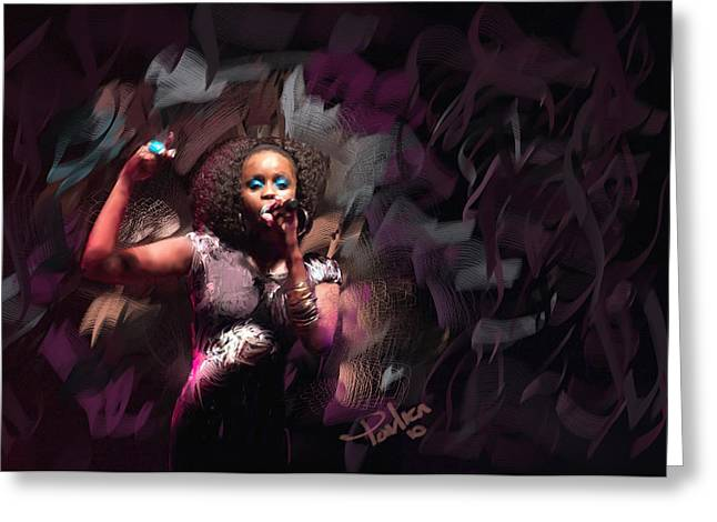 Jc Lady Sing Lady Sing Greeting Card by Donald Pavlica