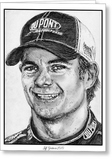 Rookie Of The Year Greeting Cards - Jeff Gordon in 2010 Greeting Card by J McCombie