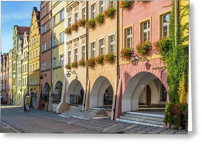 Jelenia Gora Baroque Tenement Houses With Arcades  Greeting Card