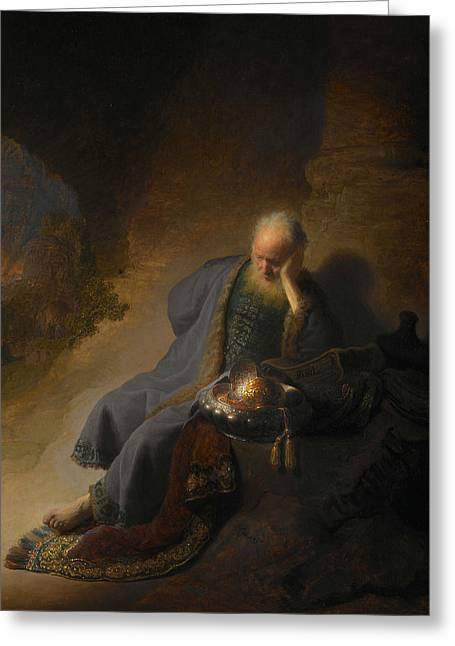 Jeremiah Lamenting The Destruction Of Jerusalem  Greeting Card by Rembrandt