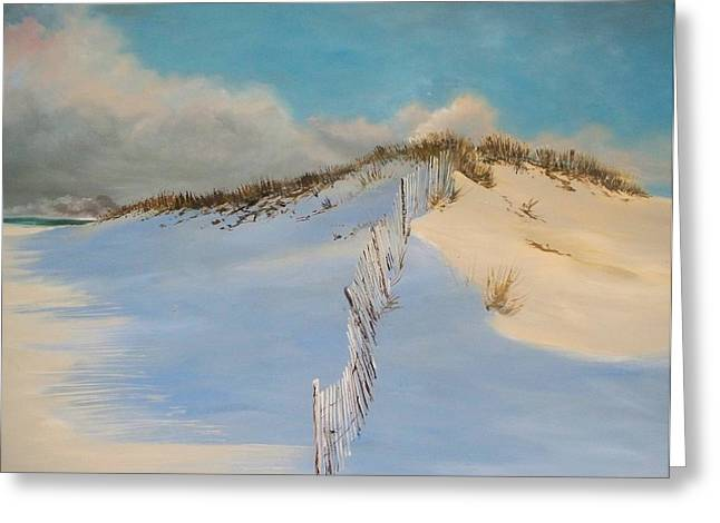 Greeting Card featuring the painting Jersey Dunes by Ken Ahlering
