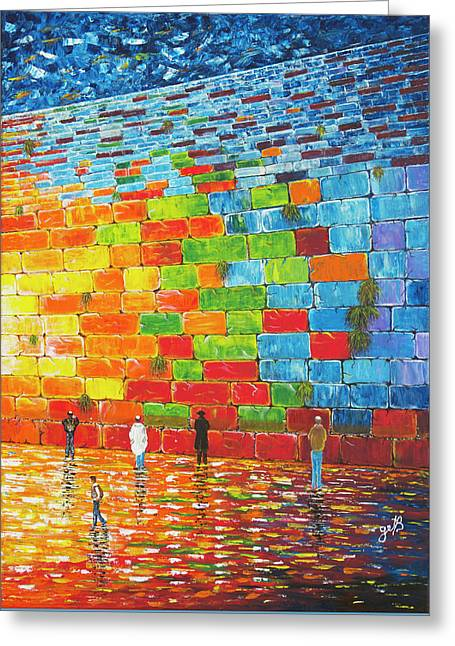 Greeting Card featuring the painting Jerusalem Wailing Wall Original Acrylic Palette Knife Painting by Georgeta Blanaru