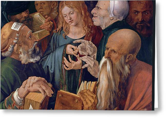 Jesus Among The Doctors Greeting Card by Albrecht Durer