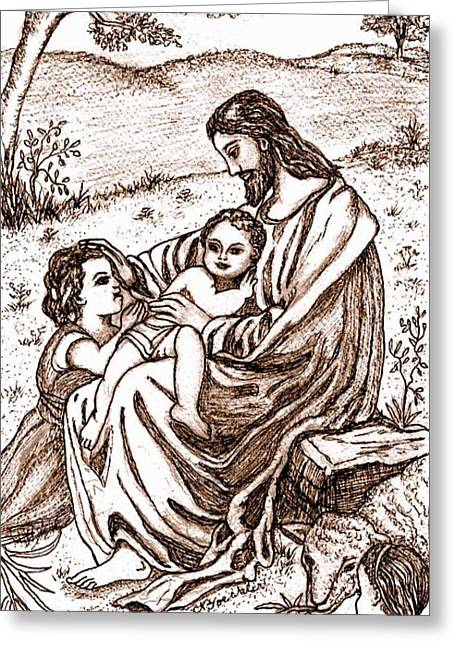 Jesus And The Children Greeting Card by Norma Boeckler