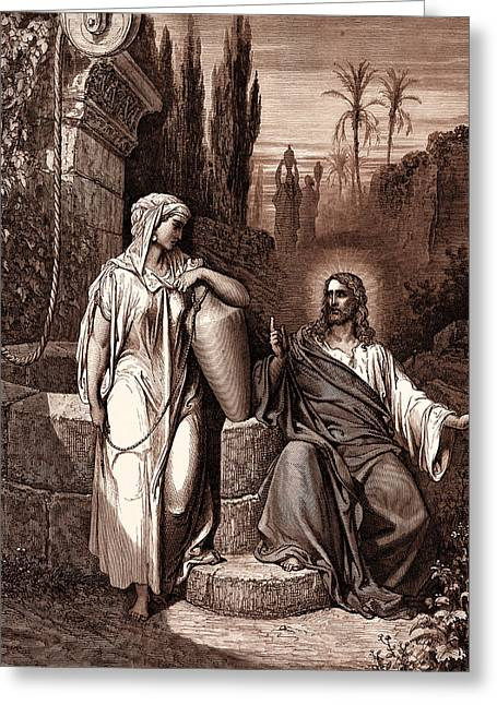 Jesus And The Woman Of Samaria Greeting Card by Gustave Dore