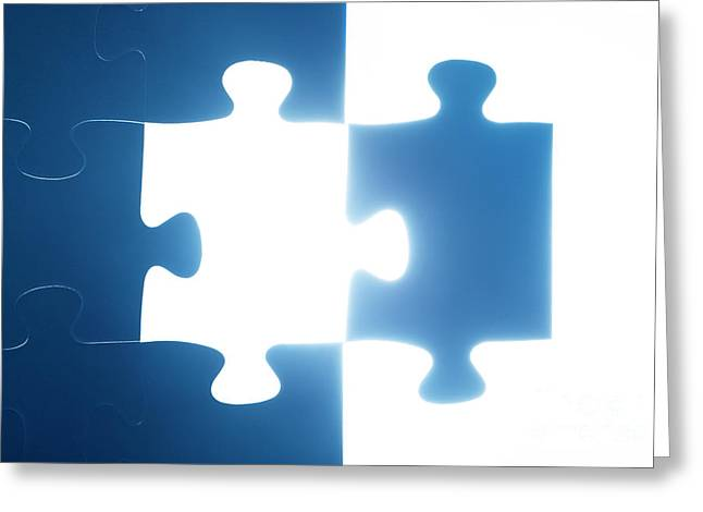 Jigsaw Puzzle Piece Missing Greeting Card by Michal Bednarek