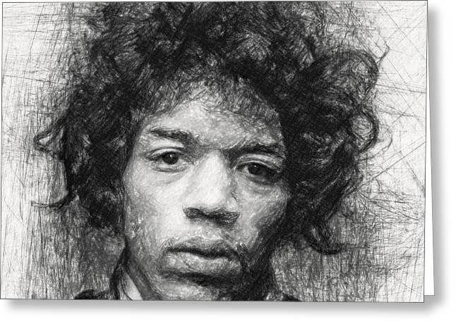 Jimi Hendrix Greeting Card by Taylan Apukovska