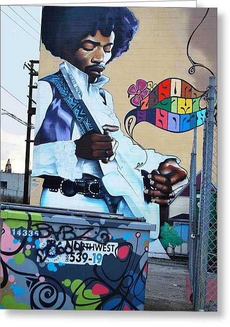 Greeting Card featuring the mixed media Jimmy Hendrix by Bill Thomson