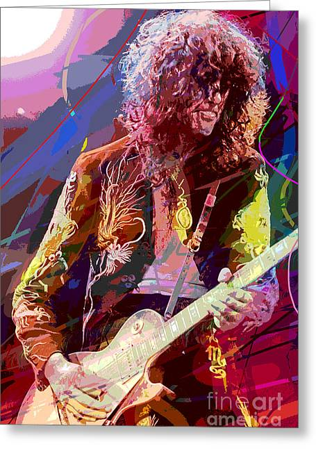 Best Sellers Paintings Greeting Cards - Jimmy Page Les Paul Gibson Greeting Card by David Lloyd Glover