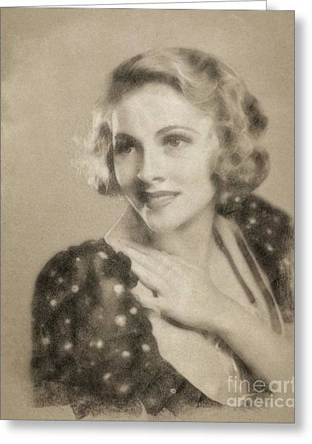 Joan Fontaine, Vintage Actress By John Springfield Greeting Card