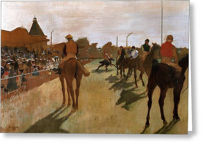 Jockeys In Front Of The Grand Stand Greeting Card by Edgar Degas
