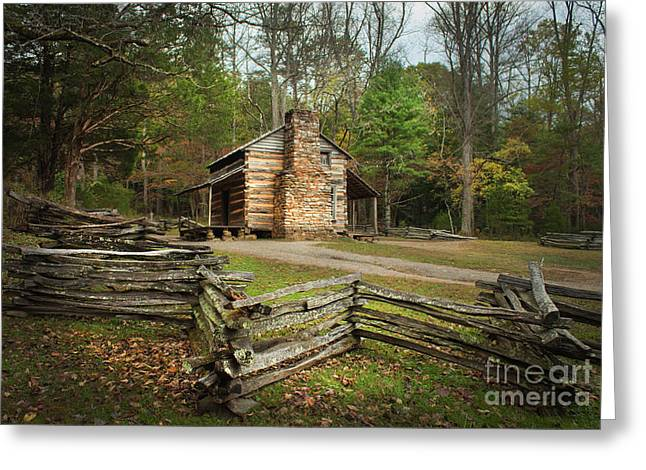 John Oliver Cabin Cades Cove Greeting Card by Lena Auxier
