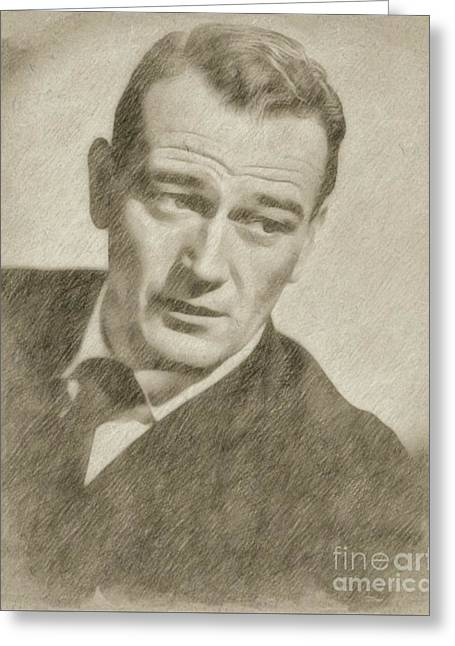 John Wayne Hollywood Actor Greeting Card by Frank Falcon