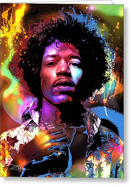 Johnny Allen Hendrix Greeting Card by Piro