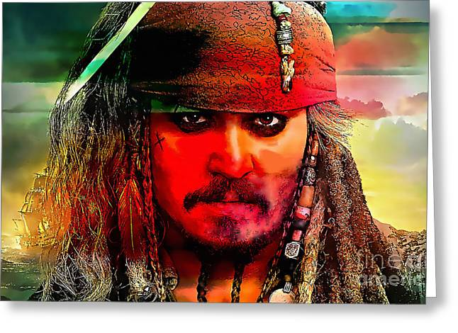 Johnny Depp Painting Greeting Card