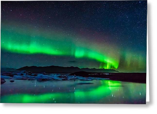Greeting Card featuring the photograph Jokulsarlon Aurora by James Billings