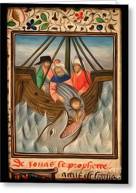 Jonah Is Thrown Into The Sea And Swallowed By The Great Fish Interpreted Greeting Card